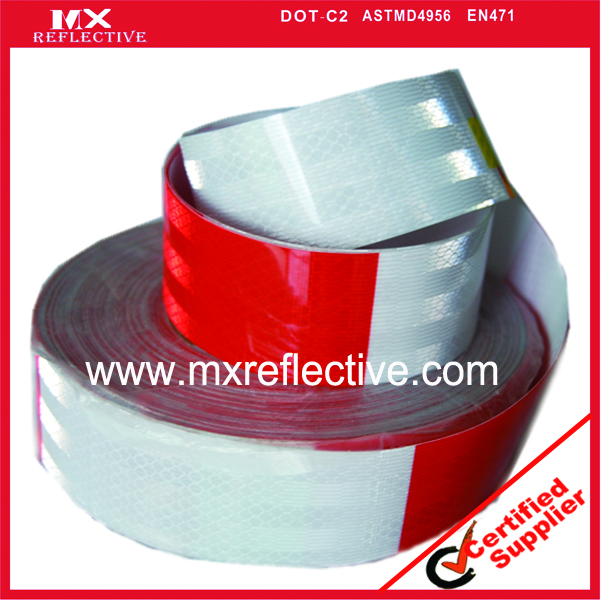 PET Prismatic Red white reflective  tape for truck